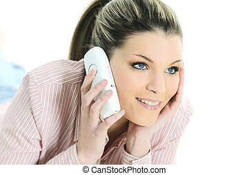 beauty woman at home is calling
