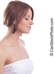 Beauty woman close-up portrait in dream