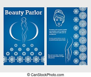 Beauty woman face and legs flyer template
