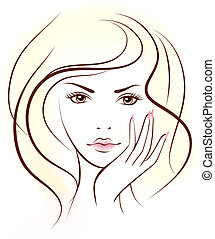 beauty woman face. Vector illustration. People. Portrait.