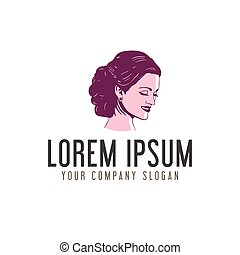 beauty woman face logo design concept template design concept template