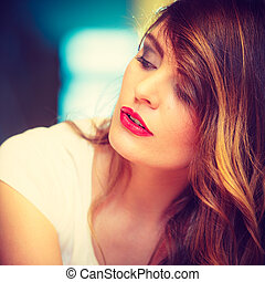 Beauty woman face long hair portrait