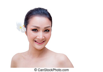 Beauty Woman face Portrait. Beautiful Spa model Girl with Perfect Fresh Clean Skin. female looking at camera and smiling. Youth and Skin Care Concept. Isolated on a white background
