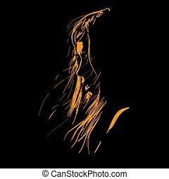 Beauty Woman Face silhouette in contrast backlight