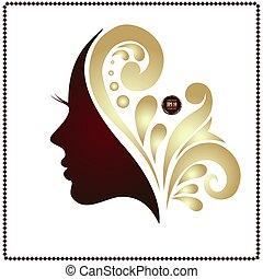 Beauty woman face silhouette in profile.