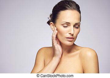Beauty woman face with clean healthy skin