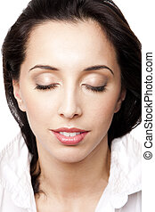 Beauty woman face with eyes closed