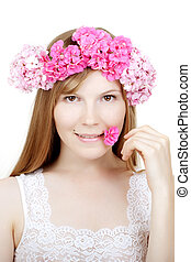 Beauty woman face with flowers