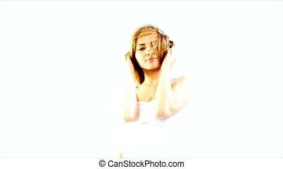 beauty woman head movement