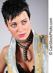beauty woman in black bead