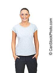 Beauty woman in blank gray tshirt