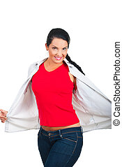 Beauty woman in blank red t-shirt and jeans