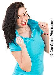 Beauty woman in blue t-shirt