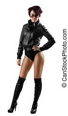 beauty woman in leather