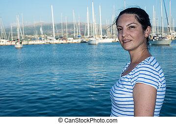 Beauty woman in port