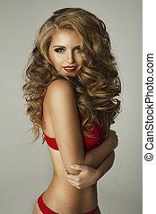 Beauty woman in red lingerie