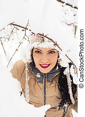 Beauty woman in snow