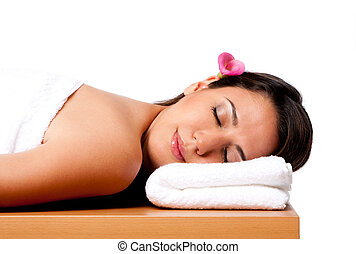 Beauty woman in spa - Beautiful happy peaceful sleeping ...