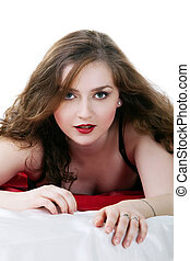 Beauty woman lay on red in lingerie