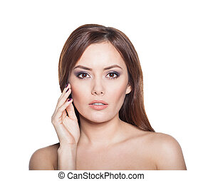 Beauty Woman model Brunette Girl Portrait isolated on a white background.