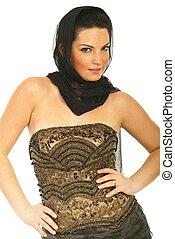 Beauty woman model in elegant dress