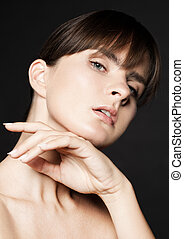 Beauty woman natural skin care on black background