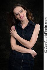 beauty woman on dark background