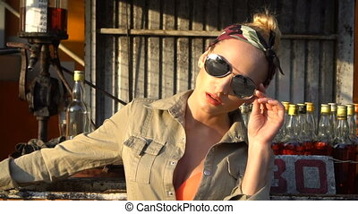 Beauty woman on gas station - Closeup face of sensual blond...