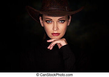 beauty woman over black background