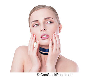 Beauty woman portrait. Beautiful model girl with perfect fresh clean skin and natural professional makeup. Blonde female showing ideal manicure on white background. Youth and skin care concept