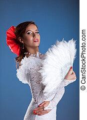 Beauty woman portrait in white flamenco costume