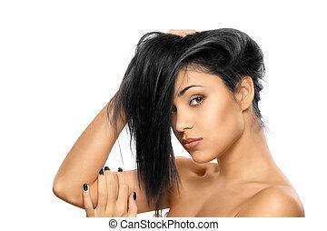beauty woman portrait of teen girl beautiful cheerful enjoying w