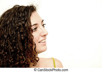 Beauty Woman Portrait over White Background