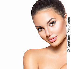 Beauty woman portrait. Spa model girl with perfect clean skin