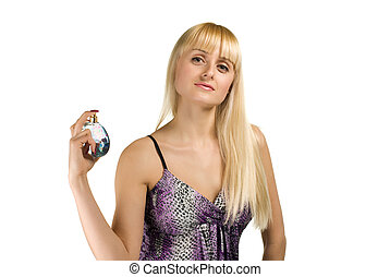 beauty woman posing with perfumes