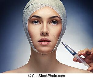 beauty woman - pretty woman getting botox injection