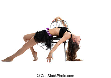 Beauty woman show dance with chair isolated