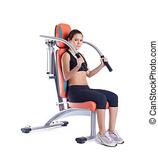Beauty woman sitting on exerciser