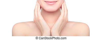 Beauty woman skin care, female portrait enjoying clean skin isolated on a white background