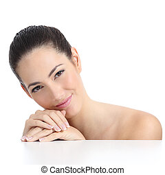 Beauty woman soft skin face and hands with french manicure