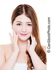 beauty woman touch face