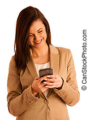 Beauty woman using and reading a smart phone isolated on a white background