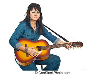 Beauty woman with acoustic guitar