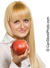 beauty woman with apple