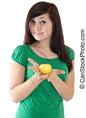 beauty woman with apple on white background