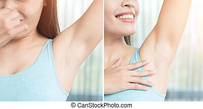 beauty woman with body odor problem before and after