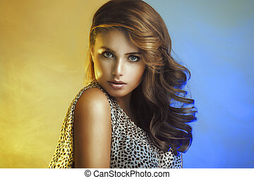 Beauty Woman with curly hair