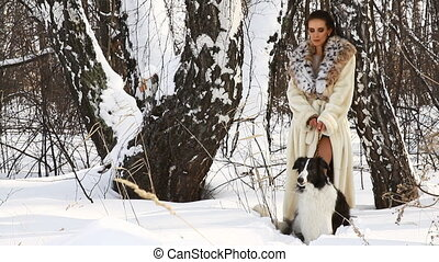beauty woman with dog