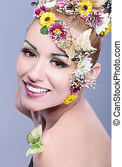 beauty woman with floral wreath