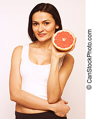 beauty woman with grapefruit isolated
